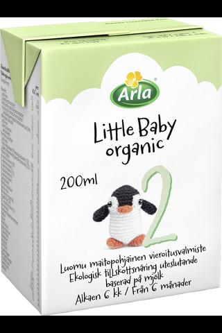 Arla Little Baby 2 200 ml Luomu UHT maitopohjainen vieroitusvalmiste käyttövalmis Äidinmaidonkorvike