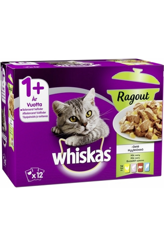 Whiskas 1+ Ragout Suosikit lajitelma hyytelössä 12x85g