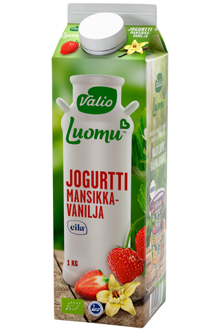 Valio Luomu jogurtti 1 kg mansikka-vanilja laktoositon