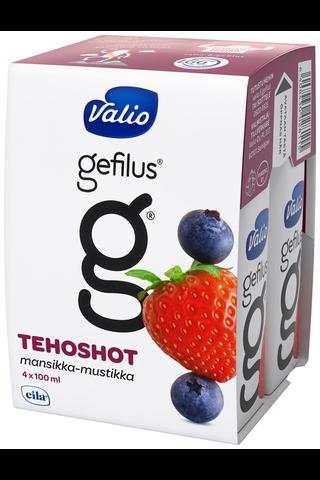 Valio Gefilus tehoshot 4x100 ml mansikka-mustikka rasvaton laktoositon