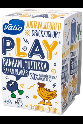 Valio Play juotava jogurtti 4x100 ml banaani-mustikka laktoositon
