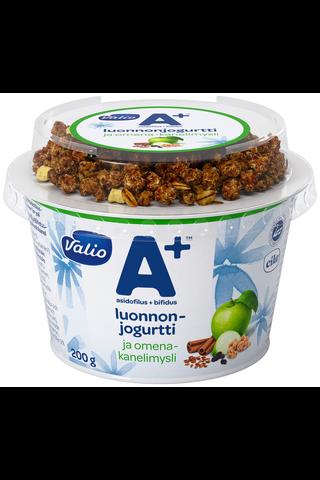 Valio A+ luonnonjogurtti 200 g ja omena-kanelimysli laktoositon