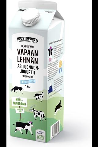 Juustoportti Vapaan lehmän AB luonnonjogurtti 1 kg laktoositon