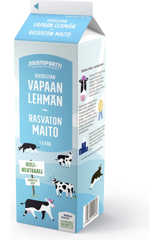 Juustoportti 1l Vapaan lehmän rasvaton maito
