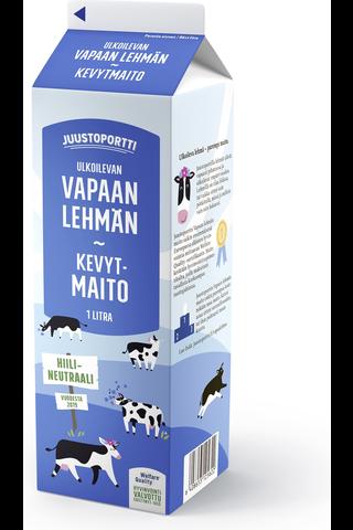 Juustoportti 1l Vapaan lehmän kevytmaito