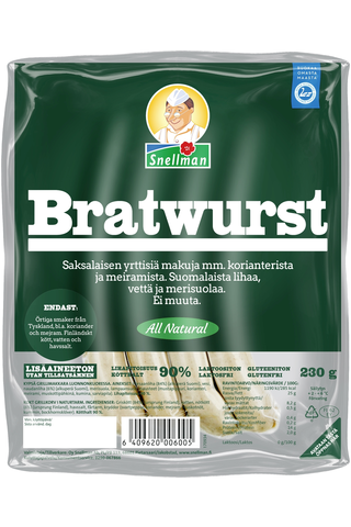 Snellman All Natural Bratwurst grillimakkara 230g