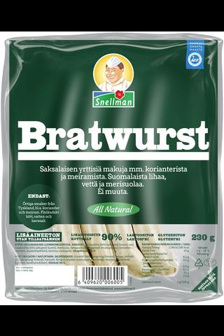 Snellman 230g All Natural Bratwurst ruokamakkara