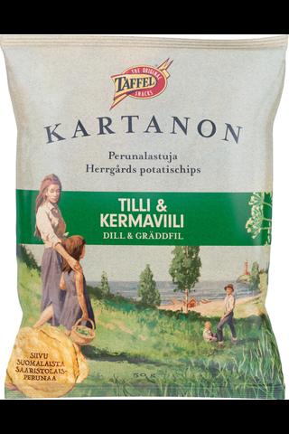 Taffel 50g Kartanon tilli & kermaviili maustettu perunalastu