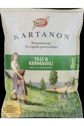Taffel Kartanon tilli kermaviili maustettu perunalastu 180g