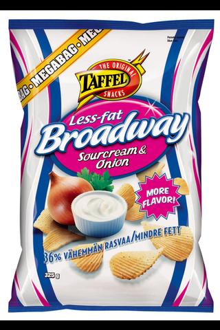 Taffel 325g Broadway Less-fat Sourcream & Onion maustettu perunalastu