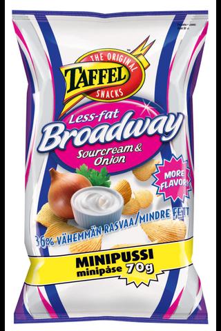 Taffel 70g Broadway Less-fat Sourcream & Onion maustettu perunalastu