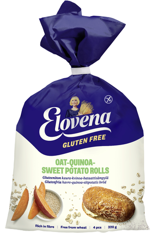 Elovena 320g gluteenittomat kaura-kvinoa-bataattisämpylät, pakaste