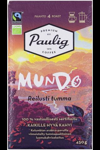 Paulig Mundo Reilusti Tumma 450g hienojauhettu kahvi Reilu Kauppa, Luomu