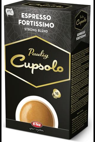 Paulig Cupsolo Espresso Fortissimo UTZ 16kpl paahdettua, jauhettua kahvia