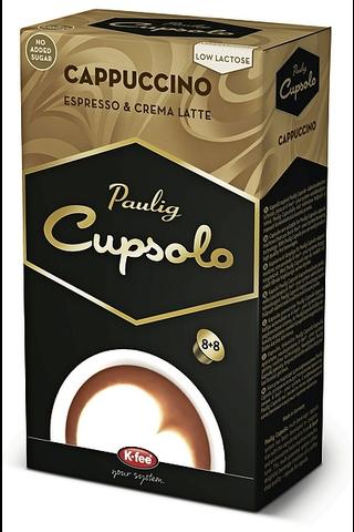 Paulig Cupsolo Cappuccino UTZ 8 annosta paahdettua, jauhettua kahvia ja vähälaktoosista maitojauhetta
