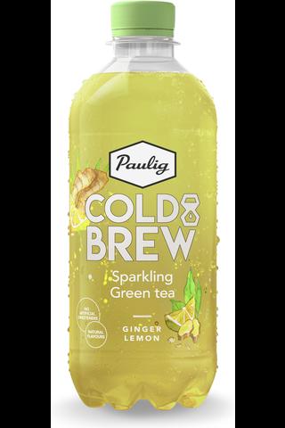 Paulig Cold Brew Sparkling Green Tea Ginger Lemon 400 ml FT kylmäuutettua vihreää teetä sisältävä inkiväärin ja sitruunan makuinen virvoitusjuoma