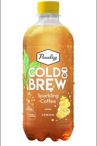 Paulig Cold Brew Sparkling Coffee Lemon 400 ml FT kylmäuutettua kahvia sisältävä sitruunan makuinen virvoitusjuoma