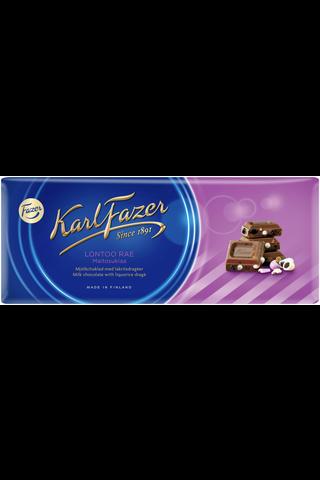 Karl Fazer 200g Lontoo rae, lakritsirae (16%) maitosuklaalevy