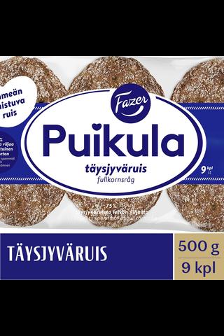 FAZER Puikula 500g 9kpl Täysjyväruis täysjyväruisleipä