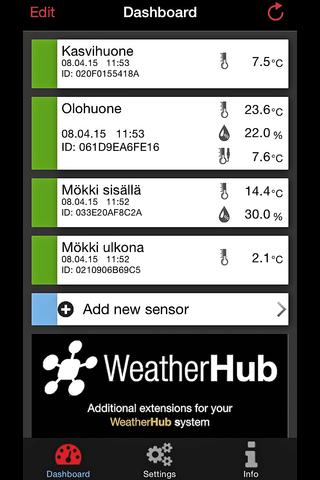 Suomen lämpömittari WeatherHub aloitussetti