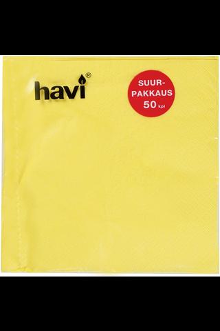 Havi 50kpl/33cm keltainen tissue lautasliina