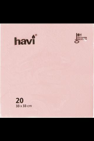Havi lautasliina vaaleanpunainen 33cm 20kpl