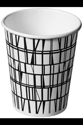 Finlayson kartonkipikari kuumakuppi Coronna musta valkoinen  250ml 12kpl