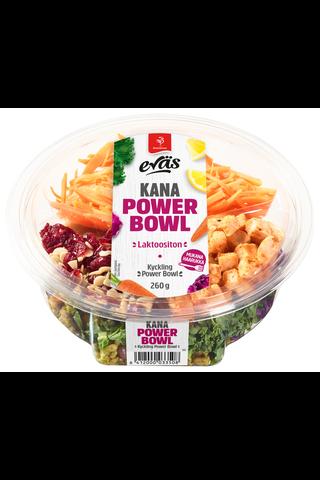 Saarioinen Eväs 260g power bowl kana, kauranjyviä, porkkanaa ja lehtikaalia sisältävä punakaali-broilersalaatti