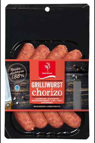 Saarioinen 280g 4kpl grilliwurst chorizo kypsentämätön raakamakkara sulatettu
