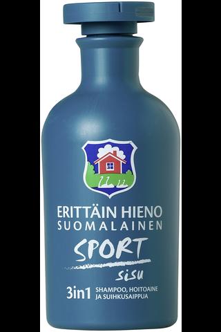 Erittäin Hieno Suomalainen Sport Sisu 3in1 shampoo, hoitoaine, suihkusaippua 300ml