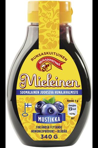 Mieleinen 340g suomalainen juokseva hunajavalmiste mustikka