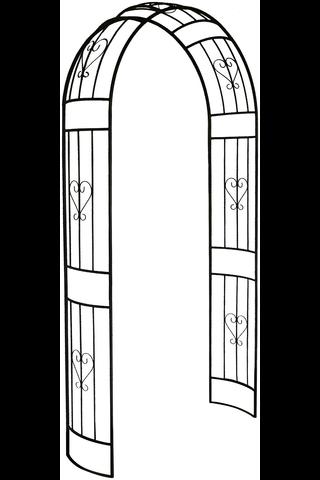 House ruusukaari 120x35x230cm metalli musta