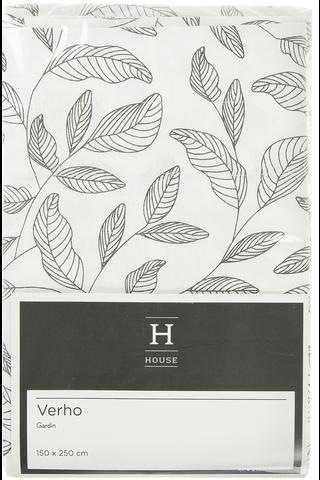 House Lehdet verho 150x250cm mustavalkoinen