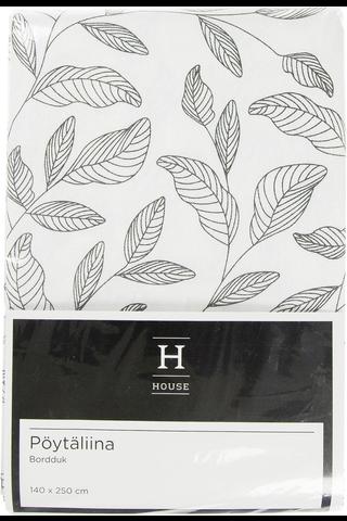 House Lehdet pöytäliina 140x250cm mustavalkoinen