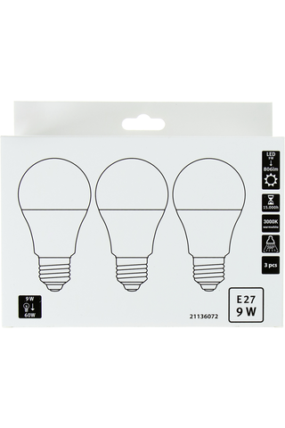 LED vakio E27 9W 3000K 806LM 3 kpl