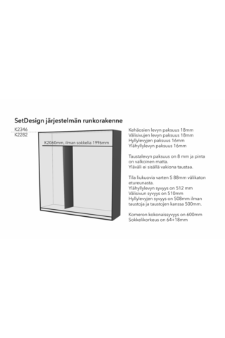 SETDesign30 liukuovikomero kirkkain peiliovin L1476 x K2346 x S600 mm, valkea