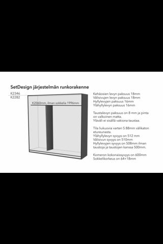 SETDesign30 liukuovikomero kirkkain peiliovin L1576 x K2282 x S600 mm, valkea