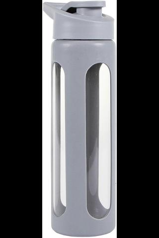 House vesipullo silikonisuojalla 0,55l harmaa