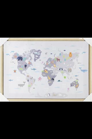 Maailmakartta canvastaulu 50x70 cm