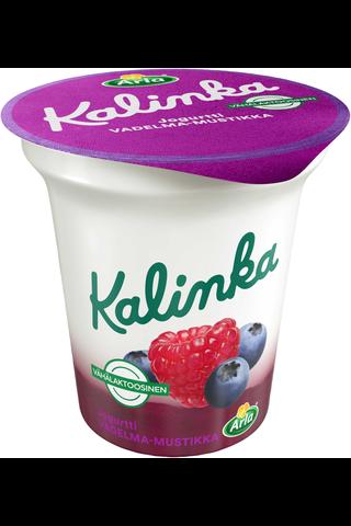 Arla Kalinka 150 g  vähälaktoosinen vadelma-mustikka kerrosjogurtti.