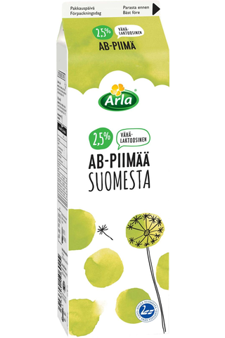 Arla 1 L AB Suomesta 2,5% vähälaktoosinen piimä