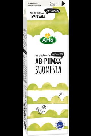 Arla 1L Suomesta Acidofilus-Bifidus laktoositon rasvaton piimä