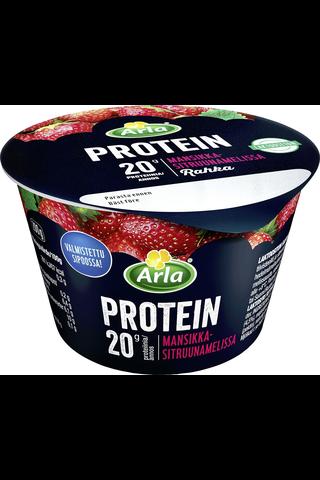 Arla Protein 200 g mansikka-sitruunamelissa laktoositon proteiini rahka