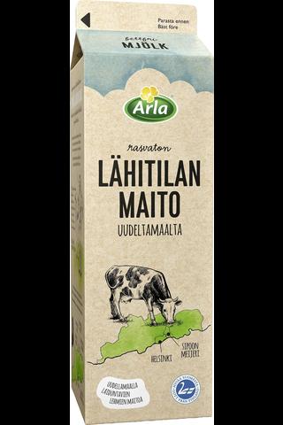 Arla 1 L lähimaito Uudeltamaalta rasvaton maito