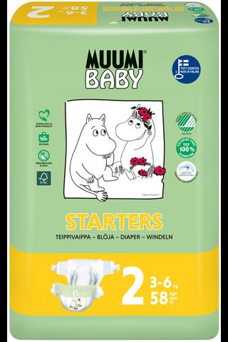 Muumi Baby Diapers teippivaippa 2 - 58 kpl 3-6 kg