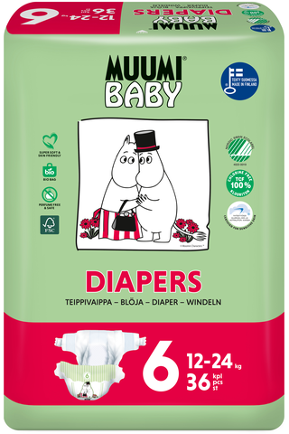 Muumi Baby Diapers teippivaippa 6 - 36 kpl 12-24 kg