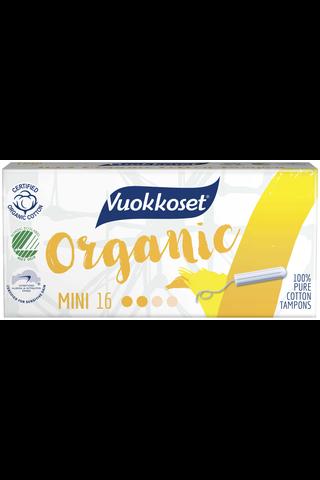 Vuokkoset Organic Tampon Mini 16kpl