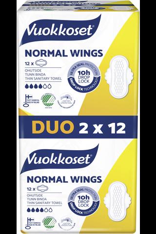 Vuokkoset Normal Wings Duo ohutside 2x12 kpl
