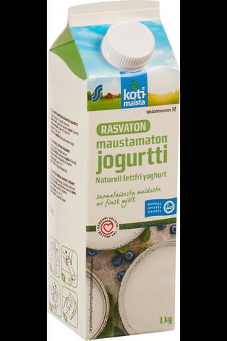 Kotimaista 1kg rasvaton maustamaton vähälaktoosinen jogurtti
