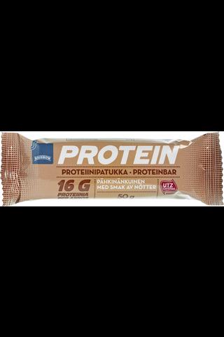 Pähkinänmakuinen proteiinipatukka maitosuklaan makuisella kuorrutteella